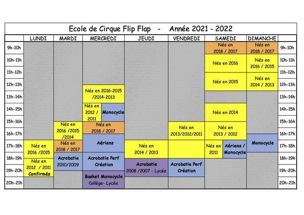 Horaires et tarifs - Ecole de Cirque Flip Flap, Paris 14ème - Année 2021 - 2022